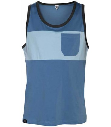Two-colored Pocket Tank Top _ Steel Blue - Snap Climbing
