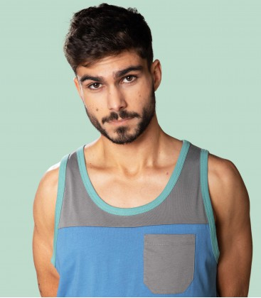 Two-colored Pocket Tank Top _ Dark Grey - Snap Climbing