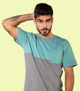 Two-colored Pocket T-Shirt _ Green - Snap Climbing